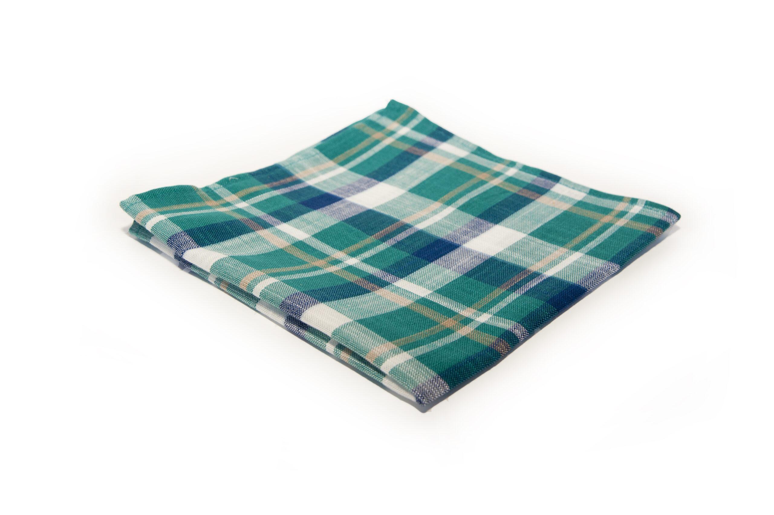bawełniana poszetka w kolorze zieleni ręcznie robiona
