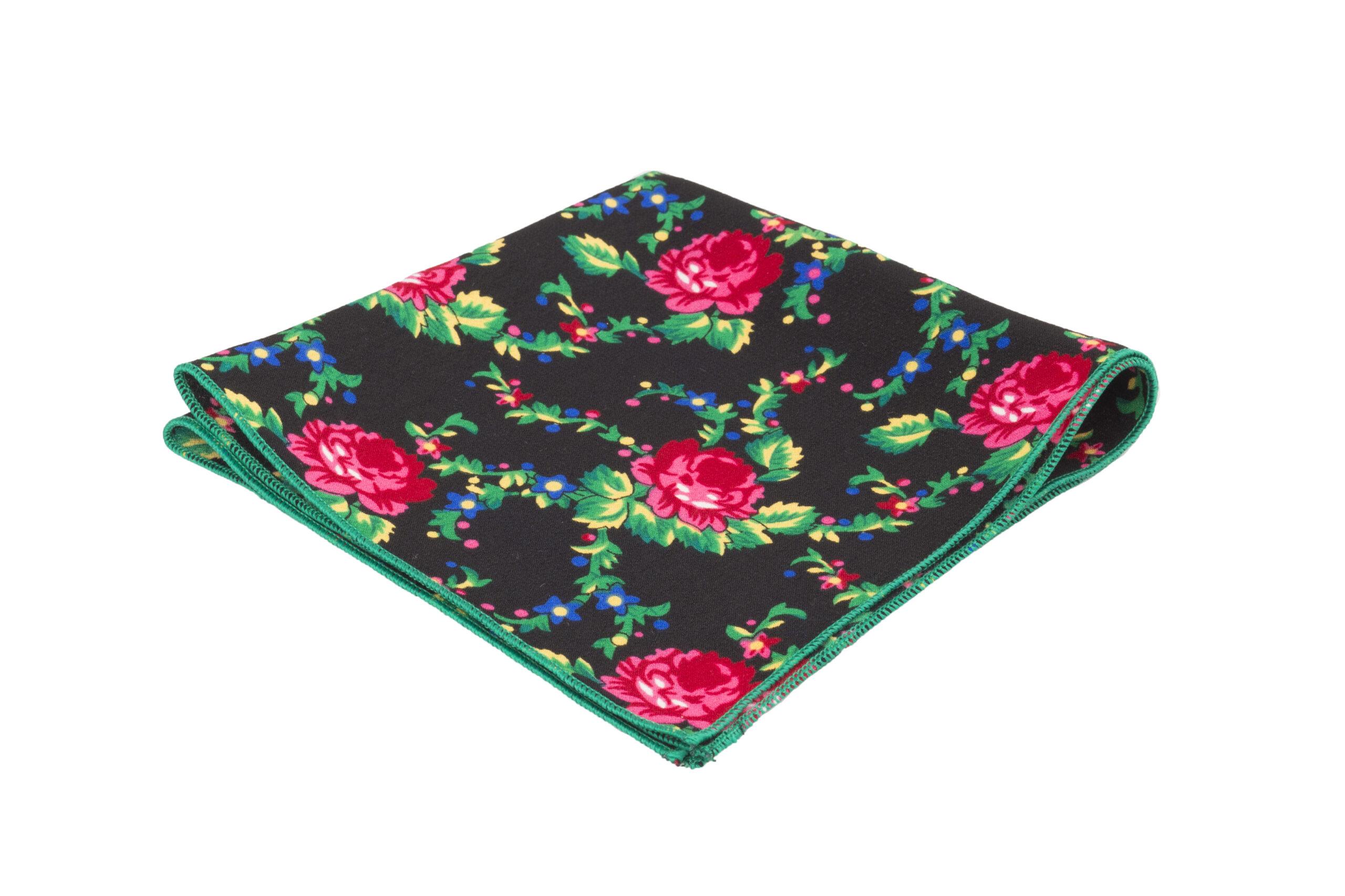 kwiecista bawełniana poszetka z zielonym obszyciem